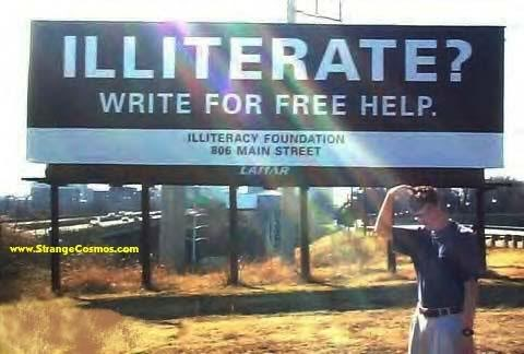 Illiterate help sign